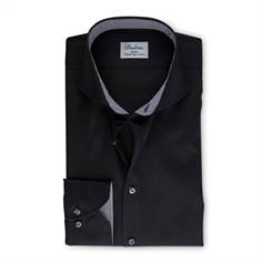Stentrøms Skjorte Sort (Black Slimline Shirt With Details)